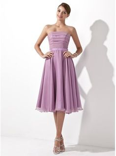 A-Line/Princess Strapless Knee-Length Chiffon Bridesmaid Dress With Ruffle (007001109) - JenJenHouse