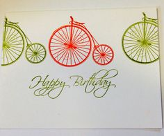 Orange and green bicycle themed Birthday card on Etsy, $4.57 CAD Pink Happy Birthday, Happy Birthday Cards, Cellophane Bags, Ribbon Bows, Bicycles, Girly, Messages, Orange, Green