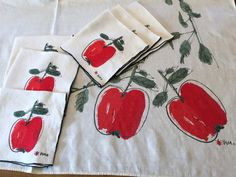 Vintage Vera Printed Tablecloth & SIX Napkins  Red by AStringorTwo