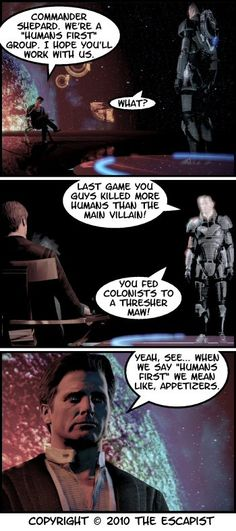 Mass Effect: Garrus, Liara, Kaiden and Colonel Sanders in ME3 - Page ... I found this funnier then I should have since I tend to play the Sole Survivor....