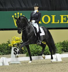 Golden, Bay, and a Blue Roan or two... Why not get a black horse too!  (Anky van Grunsven on Painted Black as they perform their third place ride at the Rolex FEI World Cup Dressage Finals)