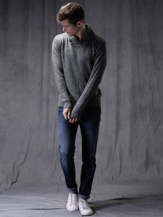 Buy WROGN Charcoal Grey Sweater online in India at best price.Charcoal grey sweater, has a shawl collarwith button detailing, long sleeves, a ribbed hem Men's Collection, Winter Collection, 2 Princes, Winter Fashion, Men's Fashion, Styles, Grey Sweater, Charcoal, Normcore