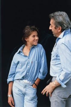 Serge and Charlotte #Gainsbourg in #denim #jeans © Tony Frank