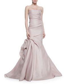 Strapless+Ruched+Godet+Gown,+Putty+by+Monique+Lhuillier+at+Neiman+Marcus.