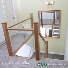 Oak staircase renovation incorporating toughened glass secured with steel clamps New Staircase, Staircase Design, Bespoke Staircases, Design Consultant, Stairways, Carpet, House Design, Steel, Lighting