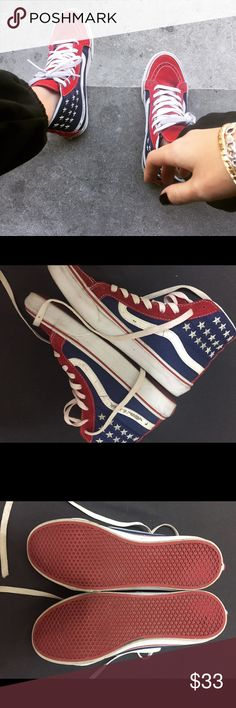 American flag Vans sk8 hi women's 7.5 rare Here are a pair of Vans sk8 hi American flag sneakers. They are a little worn but still in great condition! Size 7.5 women's Vans Shoes Sneakers