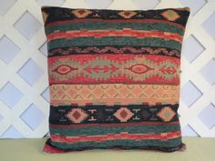 Tribal Pillow Cover in NavyTeal Coral Aztec Print Handmade by JRsPillowsandBags on Etsy