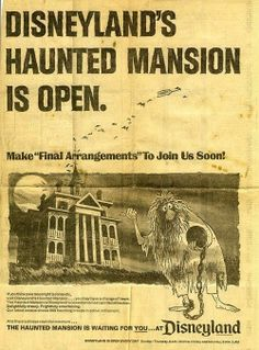 Old flyer from The Haunted Mansion. Haunted Mansion at Disneyland opened on Saturday, August