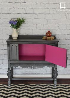 Make your grey furniture pop - Paint the inside of your dressers and side tables with a vibrant color for a refreshing change of atmosphere. When opened, this rather mature piece of furniture turns into a fun piece. This concept could work in a bedroom for any gender or age.