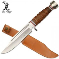 12 Inch Dagger  Knife Leather Wrapped Handle Elk Ridge W/ Leather Sheath