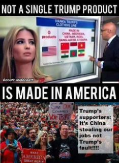 If the Trump's are serious about corporations bringing jobs back to America, why don't they put their money where their mouths are? Because working class Americans could not afford their products, if they were manufactured by American workers.