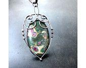Castle Garden Roses - Ruby in Fuchsite Soldered Tiffany Pendant  https://www.etsy.com/listing/181823589/castle-garden-roses-ruby-in-fuchsite?ref=shop_home_active_17