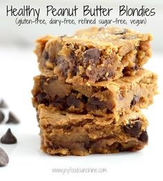 Healthy Peanut Butter Blondies Recipe! Using chickpeas makes these bars a dessert you can feel good about eating! They are gluten-free, dairy-free, refined-sugar free and vegan-friendly!