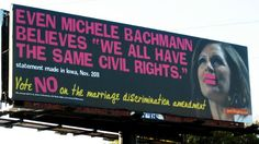 """Guerilla Girls take on Minnesota! """"Even Michele Bachmann believes we all have the same civil rights"""" November 2011."""