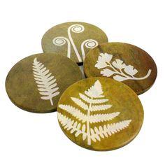 Fern Soapstone Coasters - Set of 4 - HomArt - $30.80 - domino.com #dominomag #pintowin