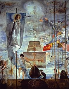 El descubrimiento de América por Cristóbal Colón (1958), óleo sobre lienzo, 161 1/2 x 122 1/8 pulgadas