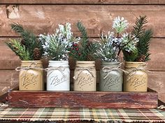 HOLIDAY Centerpiece Mason JARS in Wood Antique White or Red Tray with 5 Ball Pint Jar -Kitchen Table -Christmas Decor -Distressed Rustic -Florals (OPTIONAL) - Pine Berries Green Evergreens Flowers - Venue and reception decor (*Amazon Partner-Link)