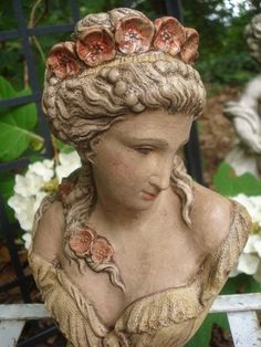 "Vintage Lady Bust Statue Plaster French Victorian Nouveau Girl Pearls Poppies | eBay 10"" tall 6"" wide"