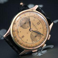 1950's CHRONOGRAPHE SUISSE Vintage Two-Tone Chronograph Watch Landeron Cal. 148