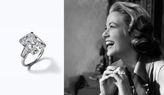 In 1956, Prince Rainier proposed to Grace Kelly with a Cartier ring adorned with an emerald-cut diamond solitaire.