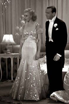 """The Piccolino Dress, from """"Top Hat."""" Ginger Rogers & Fred Astaire, 1930s 40s evening gown beaded sequins white long dress formal wear vintage fashion:"""