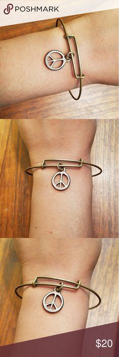 *RETIRED* Alex & Ani Peace Sign Bangle Adorable. Was Rafaelian Gold but now more of a bronze color with some tarnish as seen in photos. Great for summer! Alex & Ani Jewelry Bracelets