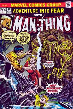 Adventure into Fear With The ManThing #18 November, 1973 Ralph Sorrell is on his way home after having a few too many drinks, causing him to get into a car crash with a passenger bus, making both vehicles crash into the swamp. The entire accident is viewed by the Man-Thing, which silently watches the events unfold. John Romita Cover.