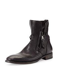 John Varvatos Fleetwood Zip-Up Leather Boot, Black