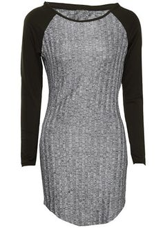 Black and Grey Long Sleeve Raglan Curved Hem Bodycon Dress