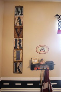 vintage letters & road boarder (use magnetic paint, then glue magnets to matchbox cars)