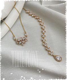 "Gold Crystal Leaf Boho Bridal Backdrop Necklace-Cubic Zirconia Greek Goddess Art Deco Gatsby Downton Abbey Old Hollywood Necklace-""BRIGITTE"" Fancy Jewellery, Stylish Jewelry, Fashion Jewelry, Women's Fashion, Bridal Jewellery Inspiration, Bridal Jewelry Sets, Wedding Jewelry, Jewelry Design Earrings, Necklace Designs"