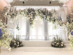 งานดีงานสวย#ladawantheweddingplanner Blue Wedding, Wedding Reception, Dream Wedding, Wedding Dreams, Backdrop Decorations, Backdrops, Wedding Decorations, Wedding Backdrop Design, Marriage Decoration