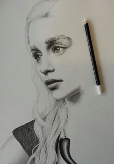 Emilia Clarke as Khaleesi Daenerys Game of Thrones artist drawing  Posted by andmilestogo  Khaleesi
