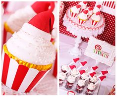 Santa Hat Cupcakes at a Red and White Candy Christmas #christmas #cupcakes