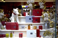 Indulge in signature scents and luxury treats at on Christmas Windows, Christmas Treats, Coffee Shop, Gift Wrapping, London, Luxury, Street, Holiday Decor, Coffee Shop Business