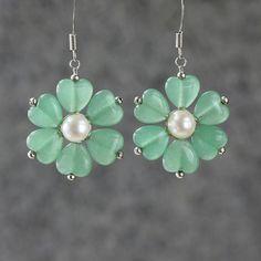 Earrings flower dangle jade pear drop ani designs by AniDesignsllc, $12.95