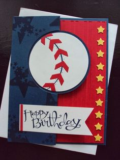 """handmade birthday card ... Masculine """"Batter Up"""" design ... luv the punch art baseball with chevrons for the stitching red, white and blue with line of little yellow stars ... great card! ... #smart phone #new phone