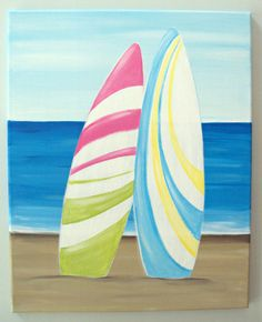 16x20 stretched canvas hand painted with acrylics. Two surfboards on the beach. Canvas sides are painted and comes ready to hang! :)
