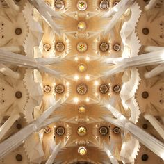 I took a picture just like this inside the sagrada familia, it reminds me of a kaleidoscope. (Gaudi)