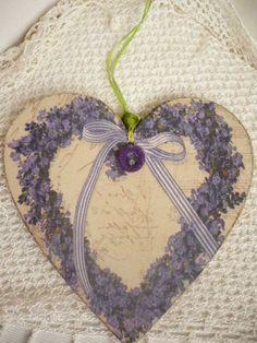 Lavender heart decoupage