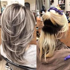 Hair Color Trends 2017/ 2018 Highlights : This beautiful client had a very dark regrow roots with light blonde mid to end #regrowhairwomen