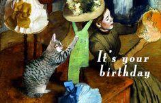 Cat Lover Fine Art Birthday Card Handmade Cat by DeborahJulian