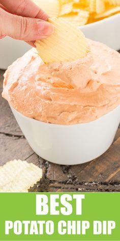 The BEST EVER Potato Chip Dip! #recipes #appetizers #diprecipes #easyrecipes #gameday #4thofjulyrecipes