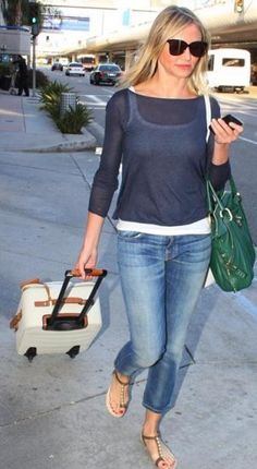 Cameron Diaz LAX travel fashion...how to look stylish and still be comfy!  But wouldn't wear open shoes on a plane..eww!
