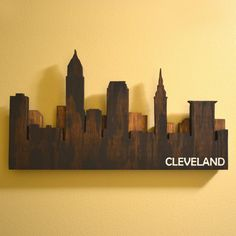 skyline light wall art | Layered Cleveland Skyline Wall Art