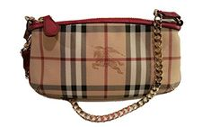 Burberry Haymarket Nova Check Clara Leather Wristlet