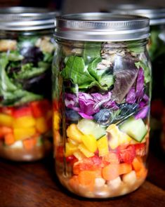 Have fun at the farmers market and pick up some colorful foods like blueberries, yellow peppers, and cucumbers. Pour gingery dressing on the bottom, add chickpeas, and then layer all the colors of the rainbow. Top with extra protein like tofu or grilled chicken and sunflower seeds, and you've got the perfect jar of salad happiness. Photo: Jenny Sugar