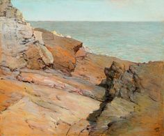 Frederick Judd Waugh (1861 - 1940) Rocks by the Sea, Maine signed with initial, W, lower right.In 1907 after two of his seascapes were rejected by the Royal Academy,  he, returned to the United States. Ironically, these paintings became an instant success in America. In 1929, he won the Palmer Memorial Marine Prize of the National Academy of Design.  http://www.cooleygallery.com/w_inv/frederick_judd_waugh.htm