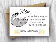 Mothers Day Card Floral, Printable Funny Mothers Day Cat Card, Cat Mom Card, Instant Download Mothers Day Card, Kitty Mothers Day Card, Poem
