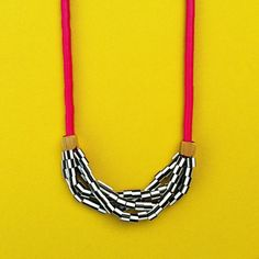 BLACK FRIDAY Fuchsia and Stripes Necklace by LoelaLoela on Etsy
